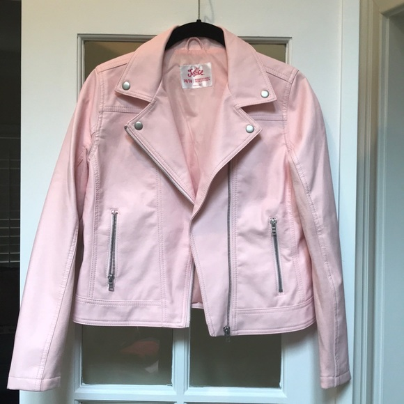 75d1d7d23 Girl's pink faux leather Moto jacket 14/16